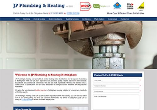 View This Web Design Project For: JP Plumbing & Heating